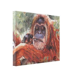 """Mother Love"" Orang-utan and Baby Canvas Prints"