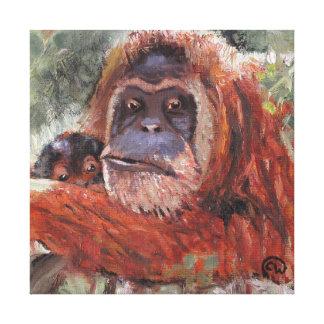 """Mother Love"" Orang-utan and Baby Canvas Print"