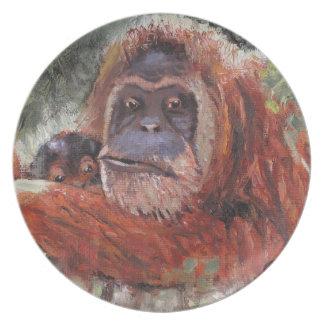 "Mother Love"" Orang-utan and Baby Melamine Plate"