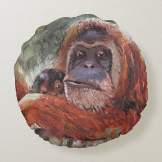 """""""Mother Love"""" Orang-utan and Baby Round Pillow"""
