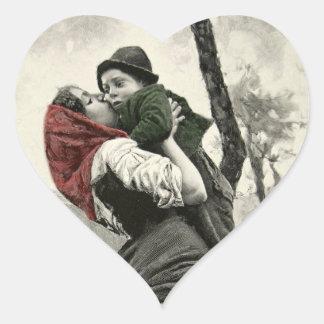 Mother Love Son Heart Vintage Engraving Cute Kiss Heart Sticker