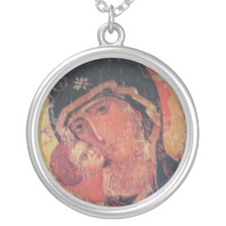 Mother Mary  And Child Round Pendant Necklace