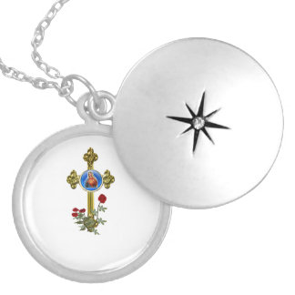 Mother Mary art products Round Locket Necklace
