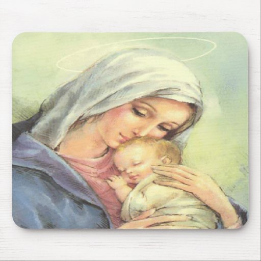 Mother Mary Baby Jesus Mousepad