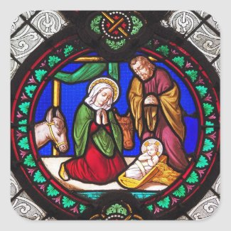 Mother Mary Baby Jesus Stained Glass Stickers