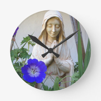 Mother Mary Blessing Round Clock