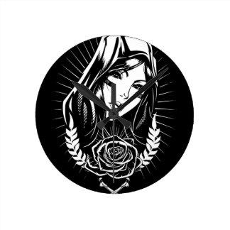 Mother Mary Chicano Art Round Clock