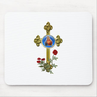 Mother mary christian cross art mouse pad