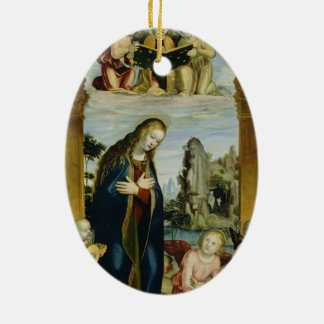 Mother Mary Double-Sided Oval Ceramic Christmas Ornament