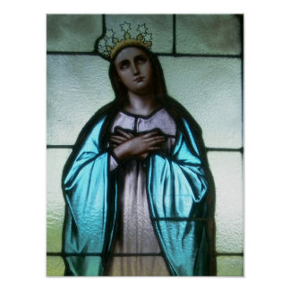 Mother Mary Stained Glass Print