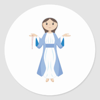 Mother Mary with Rosary Classic Round Sticker