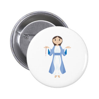 Mother Mary with Rosary Pinback Button