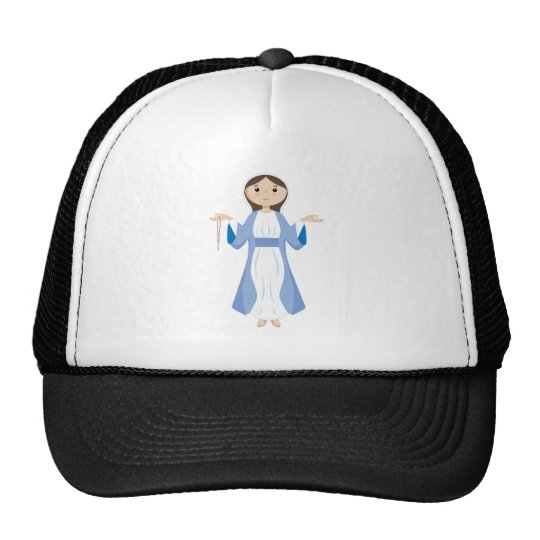 Mother Mary with Rosary Trucker Hat