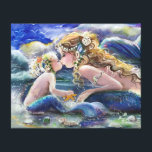 """Mother Mermaid and child in Blue Canvas Print<br><div class=""""desc"""">created from original art</div>"""