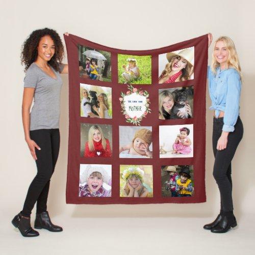 Mother Mom Photo Collage Blanket Burgundy