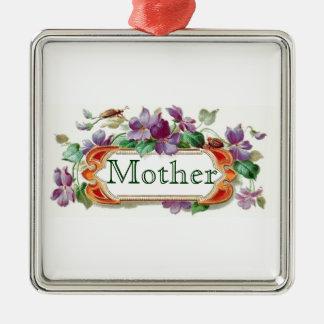 Mother Mom Vintage Inspired Floral Violets Gift Square Metal Christmas Ornament