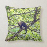 Mother Monkey and Baby in Jungle Throw Pillow
