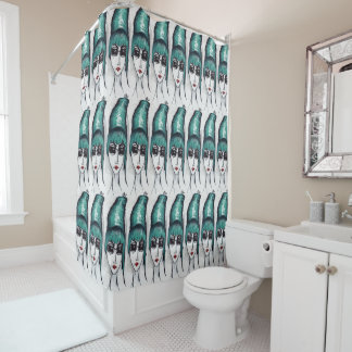 Mother Monster Teal Beehive Drawing Original Art Shower Curtain