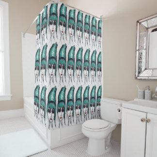 Mother Monster Teal Beehive Drawing Original Art Shower Curtain