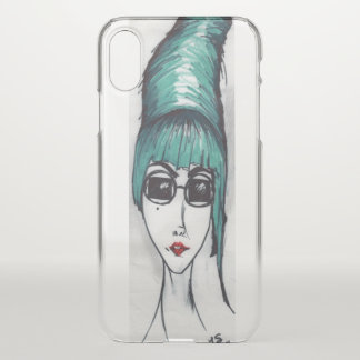 Mother Monster Teal Beehive Sunglasses Drawing Art iPhone X Case