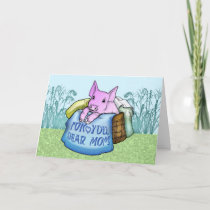 Mother, Mother's Day, Cute Pig in a basket Card