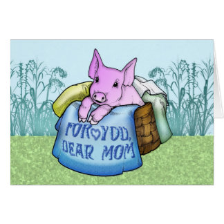 Mother, Mother's Day, Cute Pig in a basket Greeting Card