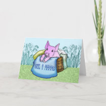 Mother, Mother's Day, Cute Pig in a basket, Welsh Card
