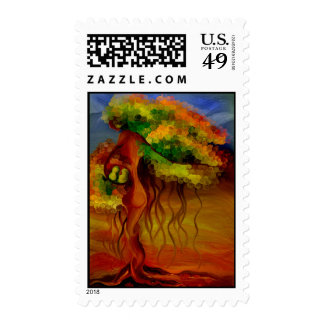Mother Nature Abstract Painting Postage Stamp