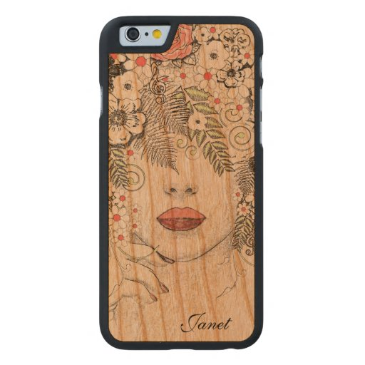 Mother nature abstract wooden iphone case carved cherry