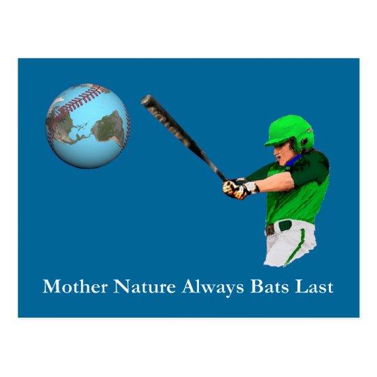 Mother Nature Always Bats Last Postcard