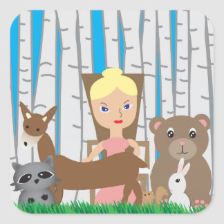 Mother Nature and Animal Friends Square Sticker