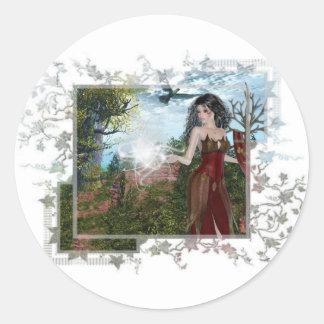 Mother Nature Fantasy Designs Classic Round Sticker
