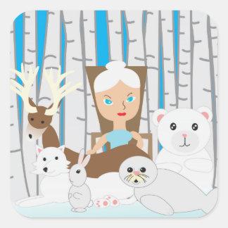 Mother Nature Winter Scene Square Sticker
