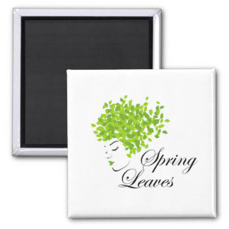 Mother nature with spring leaves as hair 2 inch square magnet