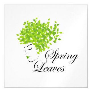 Mother nature with spring leaves as hair magnetic card