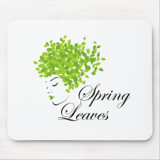 Mother nature with spring leaves as hair mouse pad