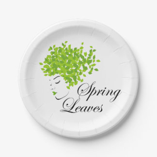 Mother nature with spring leaves as hair paper plate