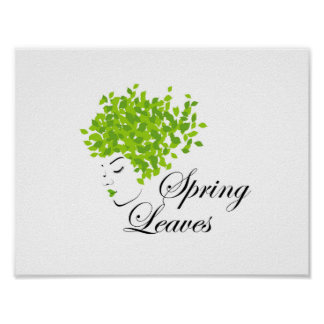 Mother nature with spring leaves as hair poster