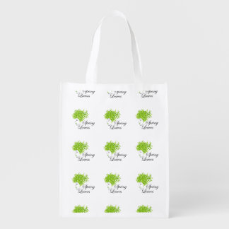 Mother nature with spring leaves as hair reusable grocery bag