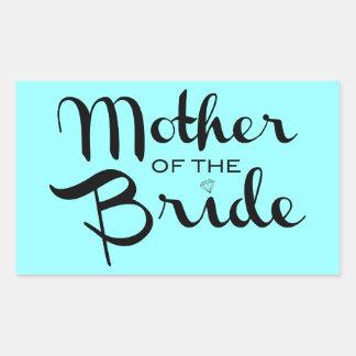 Mother of Bride Black On Aqua Stickers