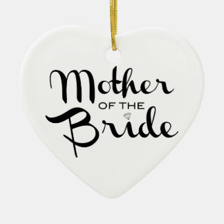Mother of Bride Black on White Double-Sided Heart Ceramic Christmas Ornament
