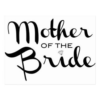 Mother of Bride Black on White Postcard