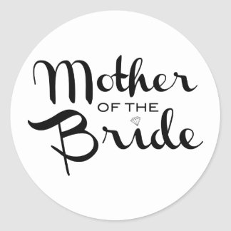 Mother of Bride Black on White Stickers