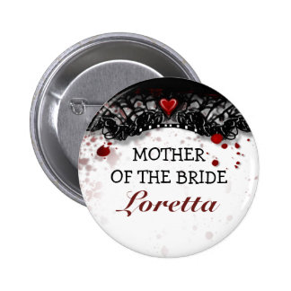Mother of Bride Blood Splatter Halloween Wedding Button