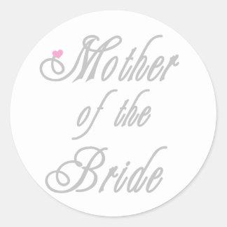 Mother of Bride Classy  Grays Classic Round Sticker