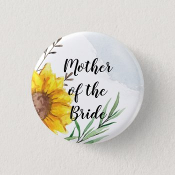 MOTHER OF BRIDE GROOM Sunflowers - Personalized Bu Button