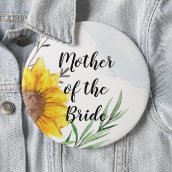MOTHER OF BRIDE GROOM Sunflowers - Personalized Button