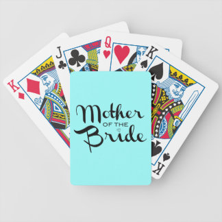 Mother of Bride Retro Script Black On Aqua Bicycle Playing Cards
