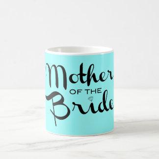Mother of Bride Retro Script Black On Aqua Coffee Mug