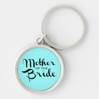 Mother of Bride Retro Script Black On Aqua Keychain